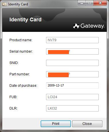 Identity card acer  Identity Card by Gateway  2019-08-18